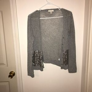 Sweaters - Grey and silver sequined cardigan